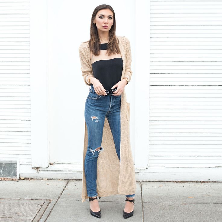 Tienlyn . - Camel Cardigan, Cami Nyc, Re/Done High Waisted Jeans - EMERGE