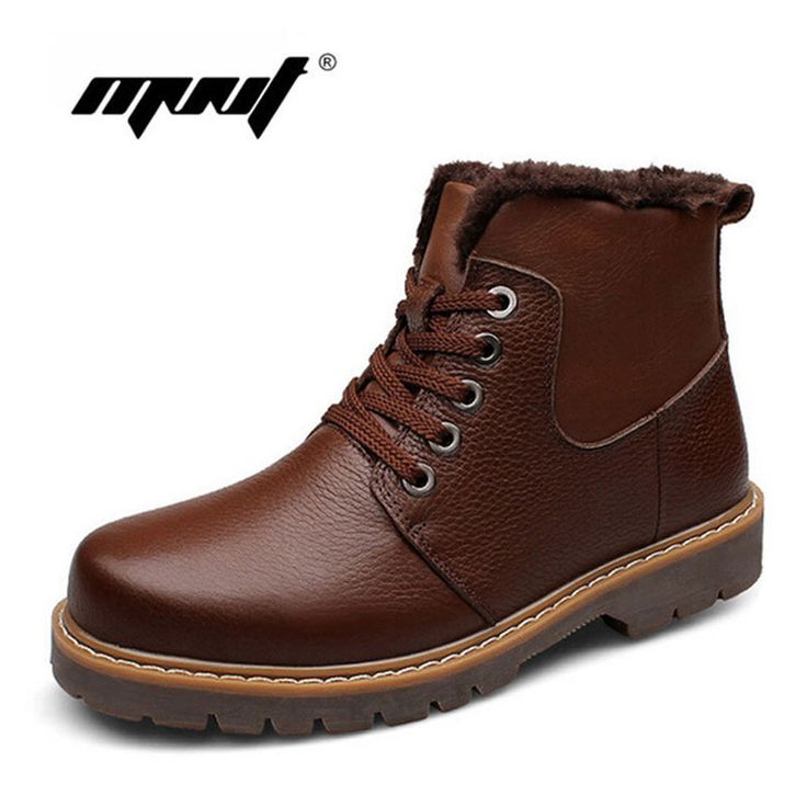 Fashion winter snow boots Super warm Size Genuine natural leather men boots Handmade men winter shoes