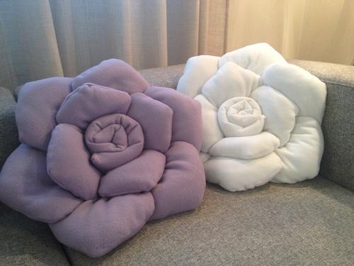Cuscino a rosa Bianco / Lilla