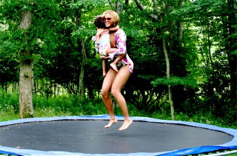 Beyonce Posts Happy Family Pictures, Jumps on Trampoline with Blue - Us Weekly