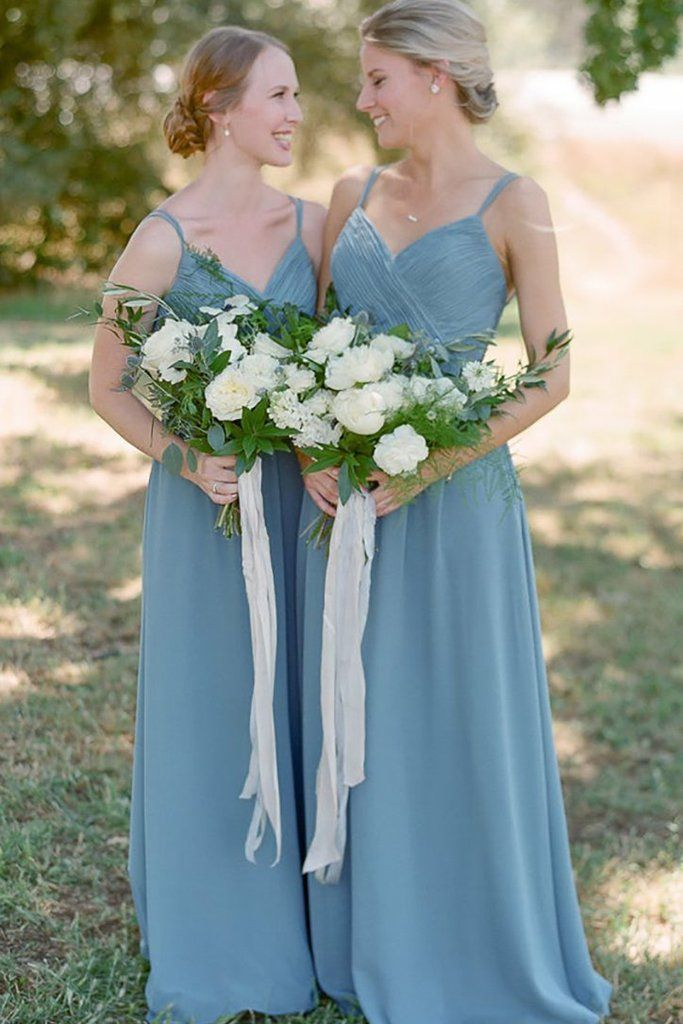 82b30c8115 Dusty Blue Chiffon Long Bridesmaid Dress