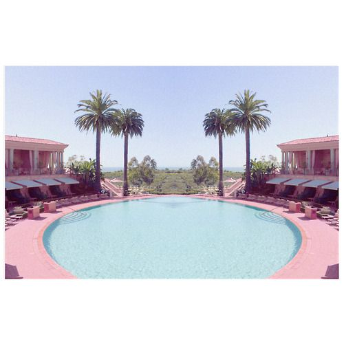 Pink hotel and pool. This place looks amazing, I'm pretty sure this is where Barbie was born and raised.