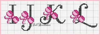 Cross-stitch Pink Ribbon ABCs, part 3 ... no color chart available, just use pattern chart as your color guide.. or choose your own colors...      Gráficos Ponto Cruz Angela Bordados: alfabeto
