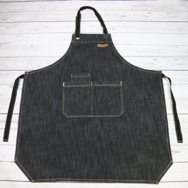 U3009S - CHEF BBQ BLACK Denim Apron| BBQ Apron| Barista Apron| Kitchen Apron |