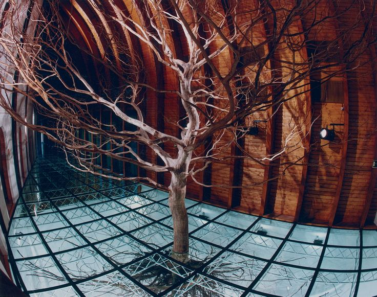 "Imre Makovecz, Hungarian Pavilion, Seville Expo, 1992. ""Makovecz uses the idea of the tree with its roots exposed to explore his notion of a world beyond view, parallel to our own. [Hungarian Pavilion] became the most visited pavilion [in 1992] … it defied the vacuity and technocratic superficiality usually associated with expo design."""