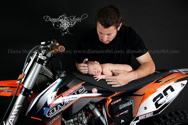 Motorcycle, dirt bike, newborn baby boy with his Daddy!