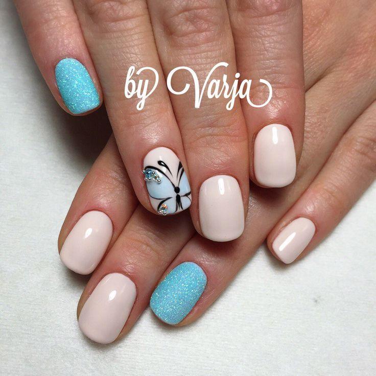 Бабочки на ногтях, Двухцветный летний маникюр, Дизайн ногтей с бабочками, Идеи двухцветного маникюра, Летние ногти, Летний маникюр 2017, Летний маникюр с бабочками, Маникюр весна лето 2017