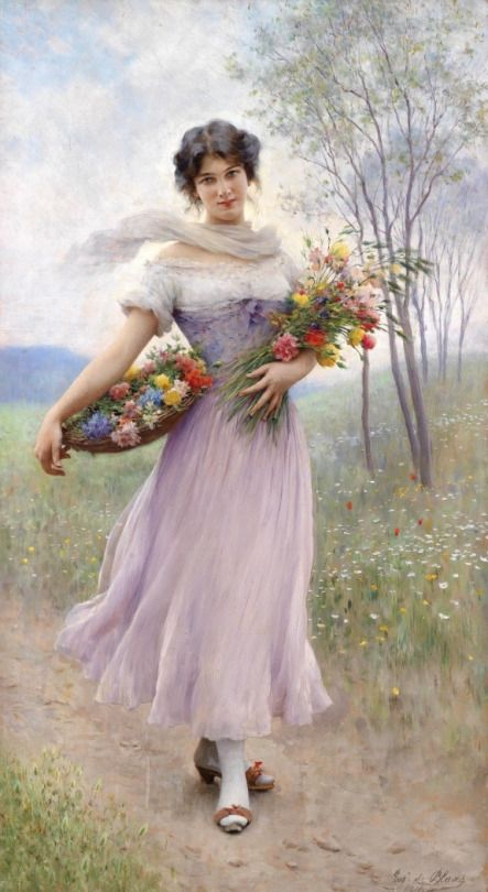 """Eugene de Blaas (1843-1932) """"Girl in a Lilac-Colored Dress with Bouquet of Flowers"""" (1911) Oil on canvas Academicism"""