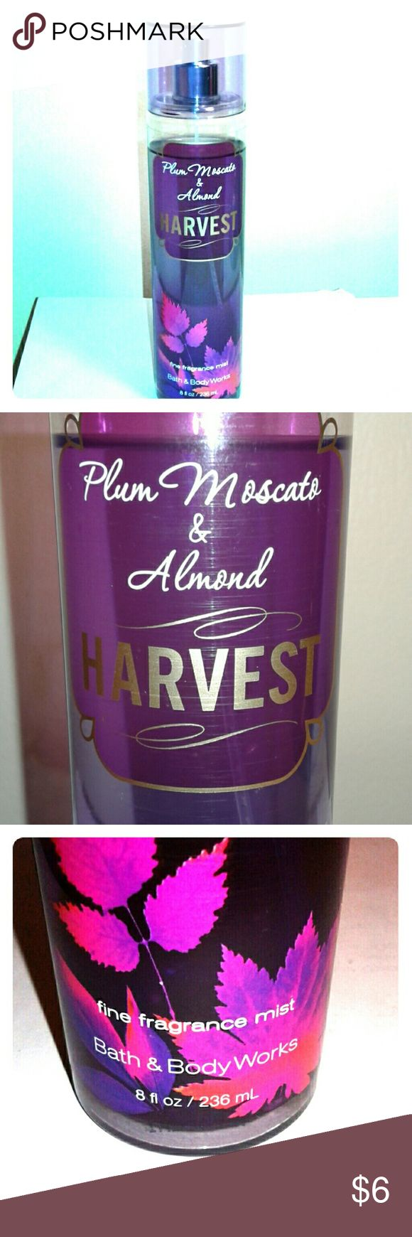 Bath & Body Works Plum Moscato & Almond Harvest Body mist with hints of plum moscato, toasted almonds, blackcurrant, Lily blossom, and vanilla. Great for all seasons! Only used a few times. Take a look at the rest of my closet and save! Bath & Body Works Other
