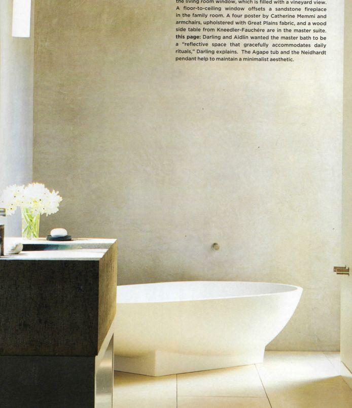 Elegant Smooth Stone Floors And Venetian Plaster Walls