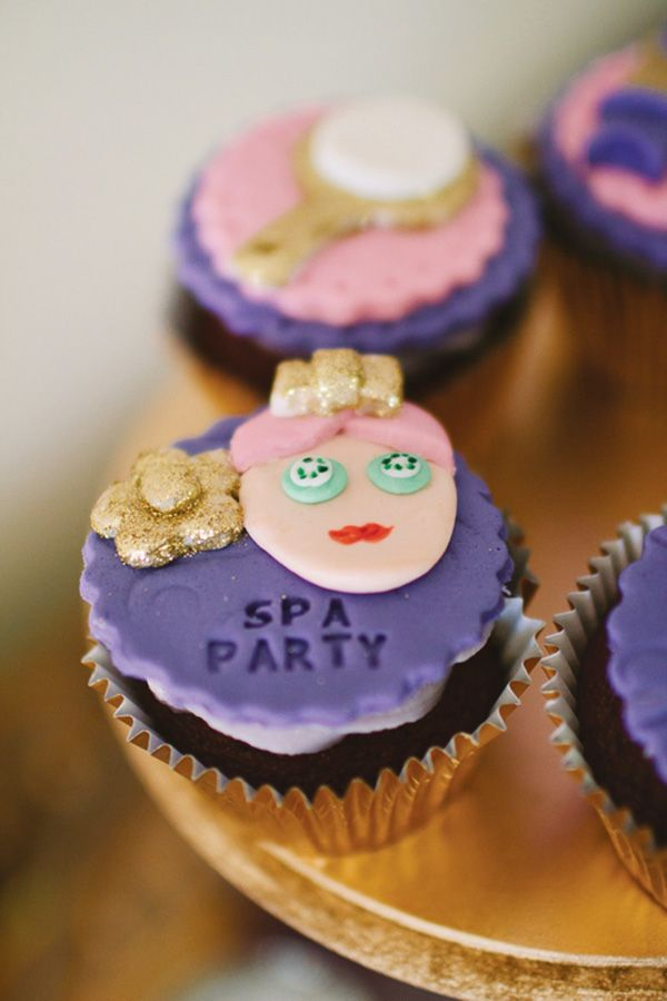Ombre Purple Spa Themed Birthday Party: The Cupcakes