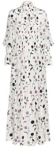 Kenzo Dandelion Smocked Printed Silk Dress