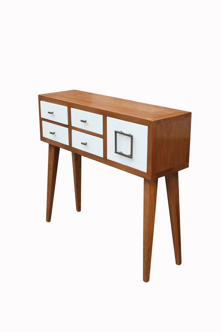 1950' style console in elm wood and white matt lacquer