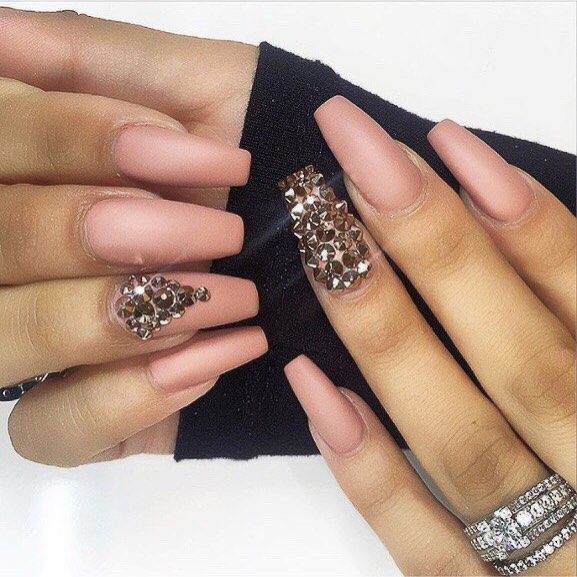 Matte Bling Long Coffin Nails @demile85 #nail #nailart