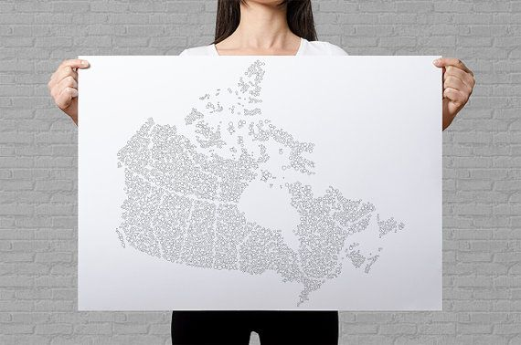 Canada coloring poster dots pattern bubbles coloring page Canada map wall art patriotic gifts travel map of Canada coloring for adults by AnnaGrundulsDesign