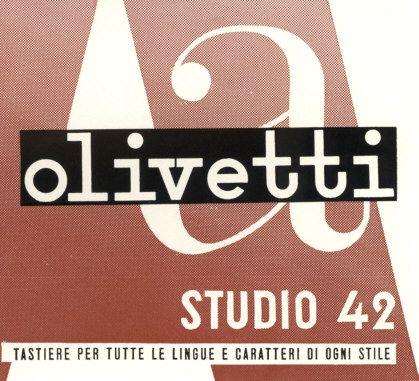 """Il logotipo Olivetti disegnato nel 1934 da Xanti Schawinsky (qui in un dettaglio di una locandina pubblicitaria del 1939 per la macchina per scrivere Studio 42, uscita nel 1935), utilizzando il carattere dattilografico Pica, è la prima scritta """"Olivetti"""" concepita come vero e proprio logotipo. Viene adottato, seppur in modo non esclusivo, fino agli anni '40 quando prevarrà l'uso del carattere Etrusco, rielaborato da Giovanni Pintori."""