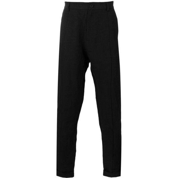 Isabel Benenato slim fit tapered trousers (507 CAD) ❤ liked on Polyvore featuring men's fashion, men's clothing, men's pants, men's casual pants, black, mens casual linen pants, mens linen pants, mens slim pants, mens slim fit linen pants and mens tapered pants