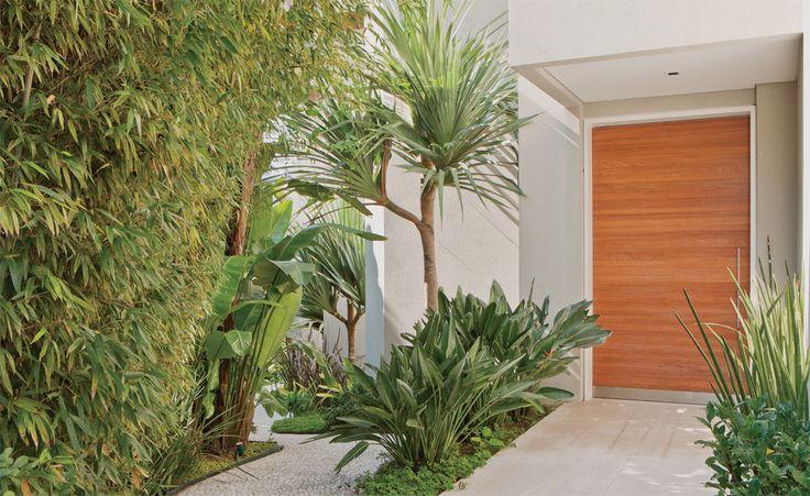 """Espécies como palmeira, pandano e estrelítzia, entre outras, dão o tom tropical ao paisagismo. """"Mais do que criar pontos de atração, essas plantas são resistentes e fáceis de cuidar. Pedem pouca rega e poda"""", explica a paisagista Caterina. Projeto de arquitetura de Ricardo Julião."""