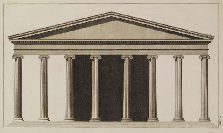 Elevation of the Front of the Temple of Dionysus in Teos. - DILETTANTI - TRAVELLERS' VIEWS - Places – Monuments – People Southeastern Europe – Eastern Mediterranean – Greece – Asia Minor – Southern Italy, 15th -20th century