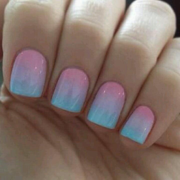 Pink & Blue Nail Fade