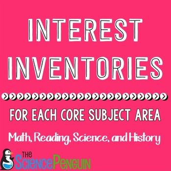 Free Interest Inventories for Each Core Subject Area!
