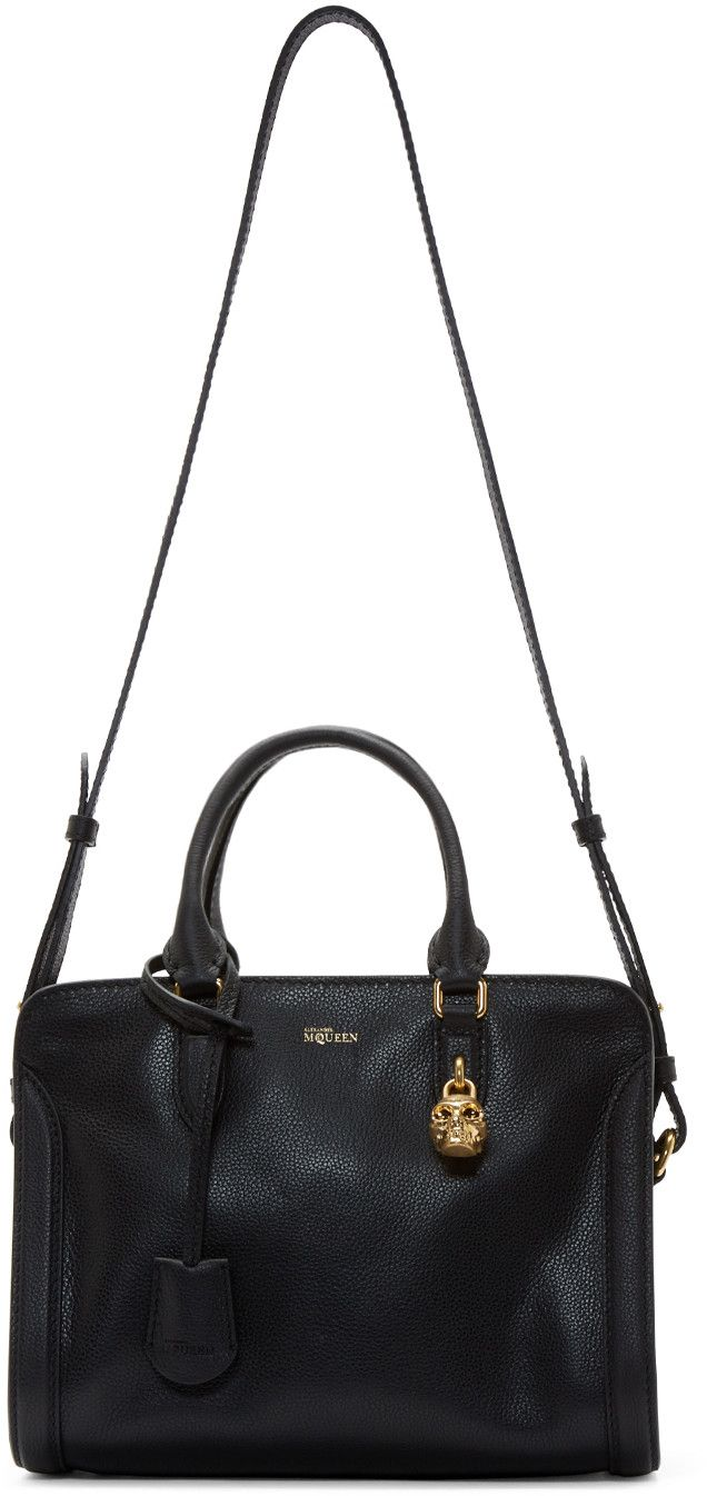 Alexander McQueen Black Leather Skull Padlock Bag
