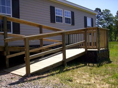 Ramp for mobile or manufactured home ramps pinterest for Handicap accessible modular homes