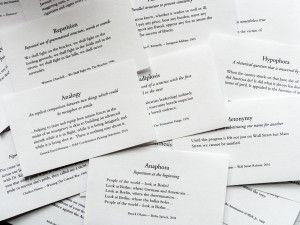 38 rhetorical devices...  Great impromptu idea for AP... give them a prompt and they pull a rhetorical device card to incorporate into their on-demand writing for the day.