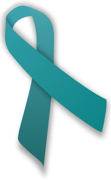 Teal ribbon, sport one of these for the month of September for ovarian cancer awareness month