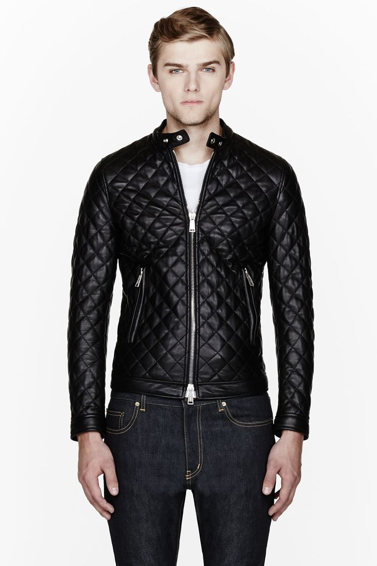 DSQUARED2 Black Leather Quilted Bomber Jacket. Men's Fall Winter Fashion.