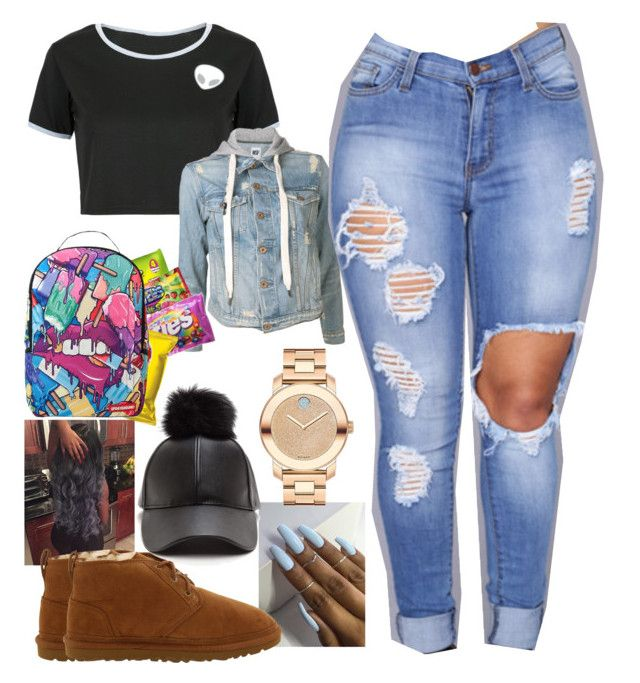 """""""school day"""" by bigdaddy-ni ❤ liked on Polyvore featuring WithChic, NSF, Movado, UGG Australia and Sprayground"""