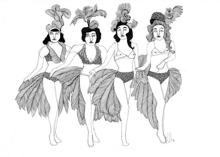 Burlesque Dancers - Illustration by Laura Armato