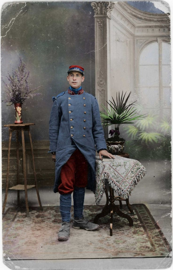 WWI, French soldier, color by Fréderic Duriez.