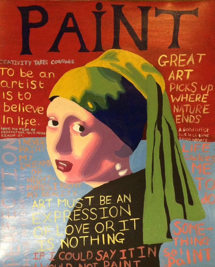 Pop art girl with the pearl earring on a vogue style magazine.