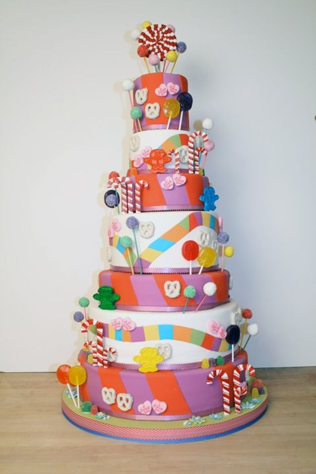 Candy Land cake... I can see doing an easier version of this with frosting and candies, too.