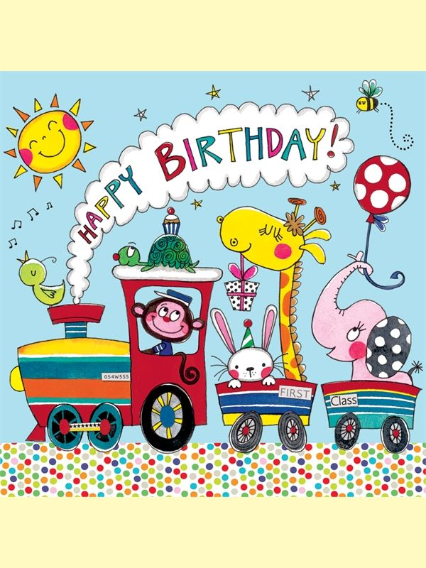 Rachel Ellen jigsaw card - happy birthday - animal train