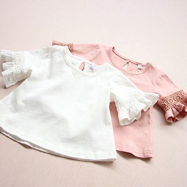 Детская одежда девушки кружева с коротким рукавом T-рубашка детская круглый воротник блузки дна рубашки блузка 2 0 1 6 летнее платье новый 0 0 0 6