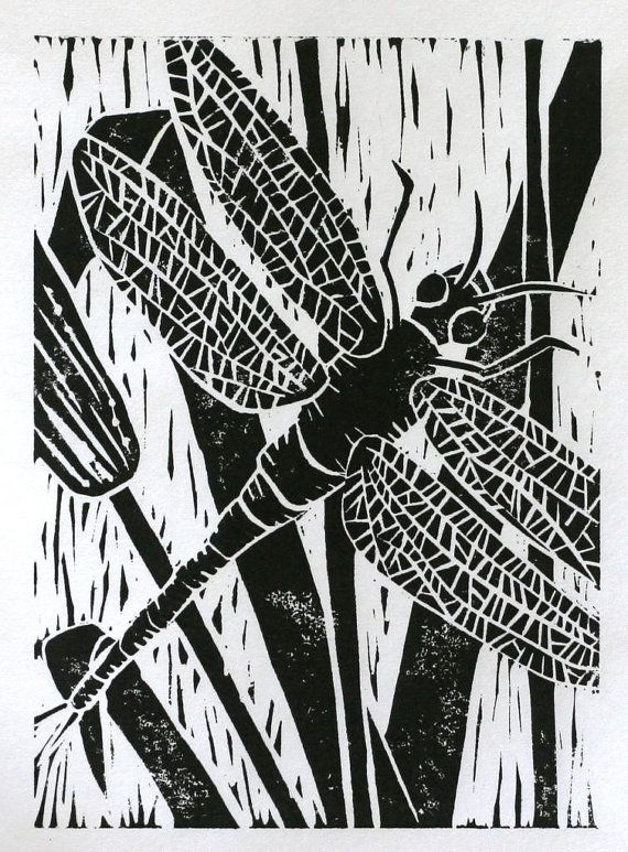 Black dragonfly print 5x7 original linocut insect by ruthsartwork