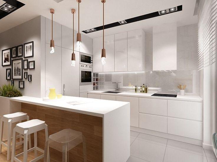 TAK! Projekt Kapa Studio - cala kuchnia na tak!, oświetlenie punktowe schowane w suficie i dekoracyjne, piekarnik na wysokości lini wzroku, nad nim mikrofala, zabudowana lodówka, półka na wino, zabudowa okapu, szafki zabudowane pod sam sufit, obrazki na ścianie łączące kuchnie z salonem, barek (kolorystyka i forma), stołki barowe, rozkład szafek