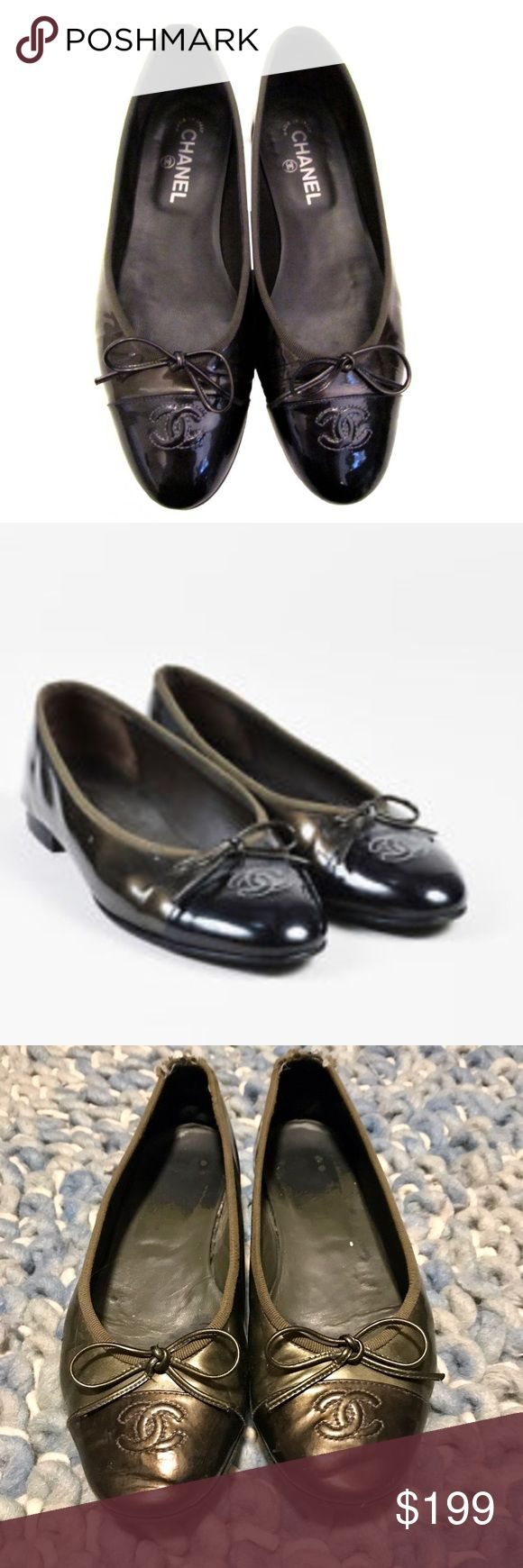 Chanel pearlized grey 2 tone ballet flats Chanel pearlized grey 2 tone ballet flats. Pre loved. Wear at heel can be fixed and soles have been replaced with high quality rubber for longevity. Bought in London, UK CHANEL Shoes Flats & Loafers