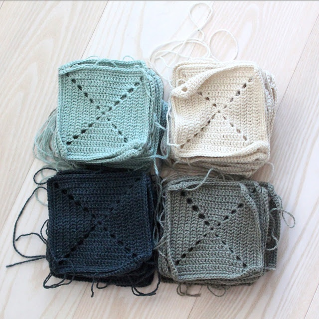 Crocheted Squares for a Blanket.