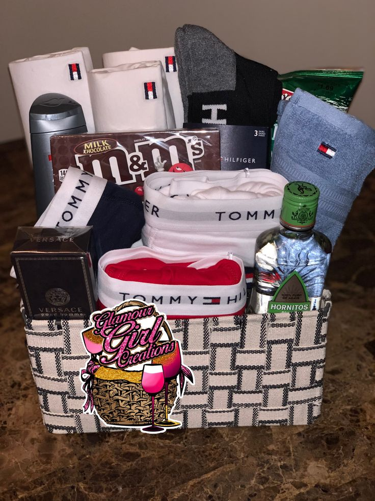 Customize a men's Spa basket comes with 3 t shirts, 3underwear, socks Wash clo…