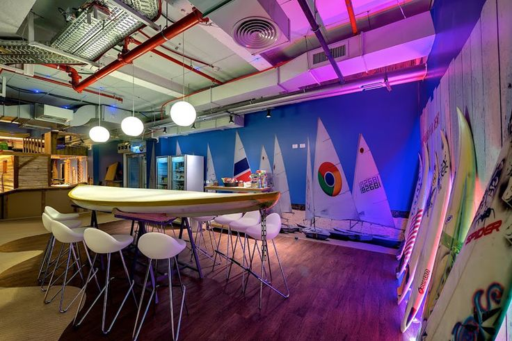 Surfing and beach theme – meeting area of a Google office in Israel
