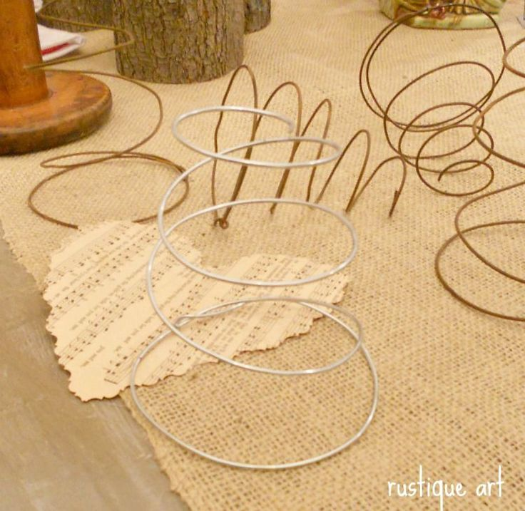 make your own bed springs - 16 gauge wire. I have a bed spring wreath pinned and could do this out of all the hangers I have from the dry cleaners. Awesome!