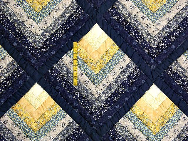 Navy and Yellow Chevron Log Cabin Quilt Photo 4. **note to self: remember to take a picture (in b/w) to get the values right. Mix them up and you won't get the illusion of depth.