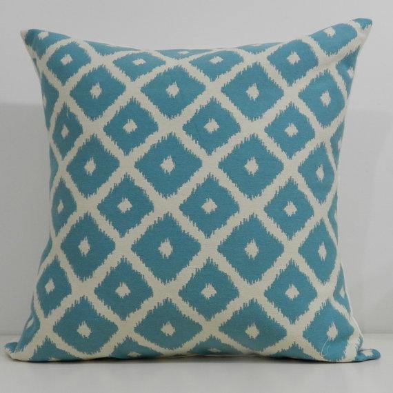 New 18x18 inch Designer Handmade Pillow Cases in aqua and cream ikat pattern. $20.00, via Etsy.