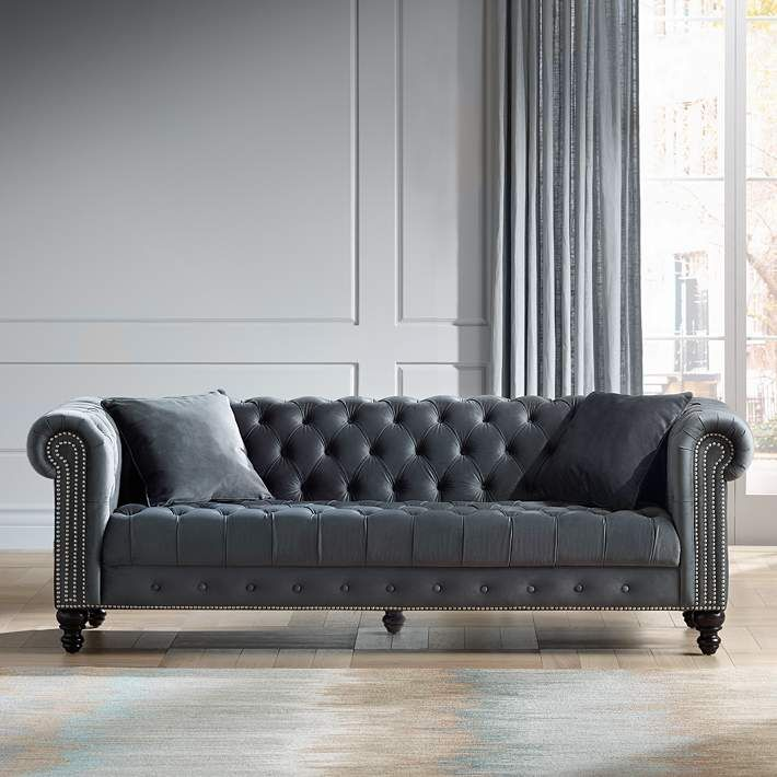 Wide Tufted Dark Gray Velvet Sofa