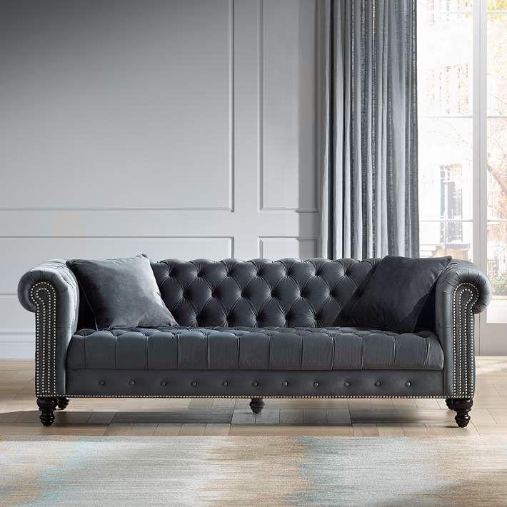 Jordan 90 Wide Tufted Dark Gray Velvet Sofa 46x34 Lamps Plus