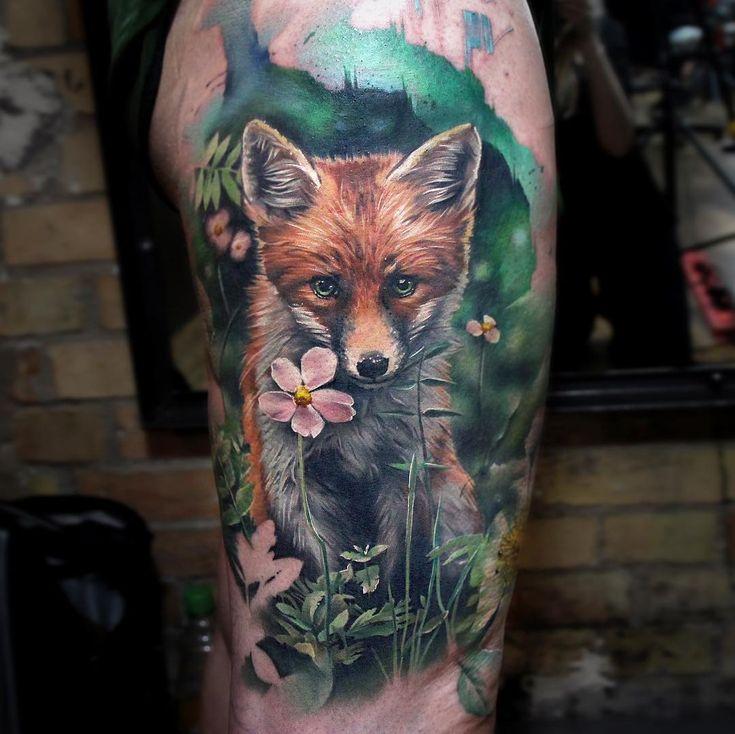 Fox tattoo by Sandra Daukshta