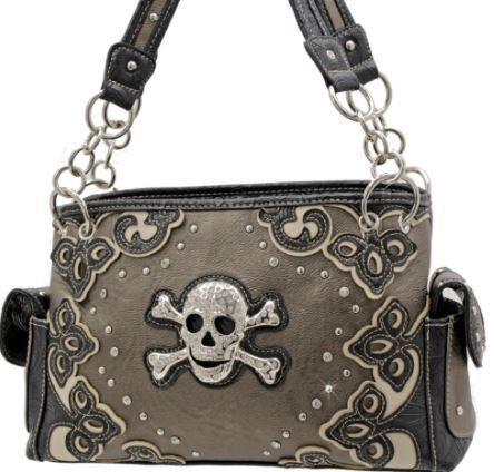 Rhinestone Studded Skull Concealed Carry Handbag-Black